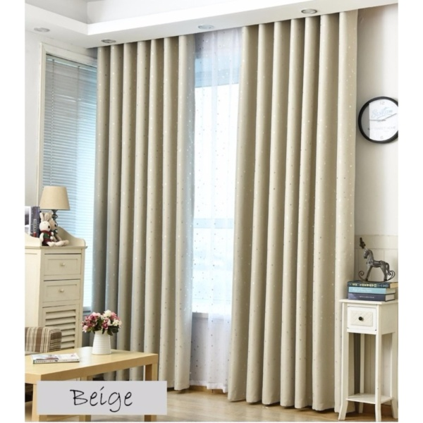 !! Jacquard Blackout Window Curtain - Grommet Top(Ring Type) -- Beige! 1.5*2.5m