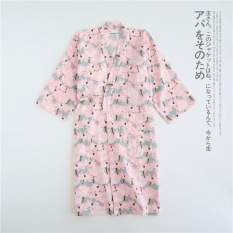 Japanese Style Spring And Summer Thin Section Lotus Cotton Gauze And Wind Long Sleeved Bathrobe Female Pajamas Japanese Kimono Nightgown Robe In Stock