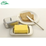 For Sale Jeebel Stainless Steel Butter Dish Box Container Elegant Cheese Server Storage Keeper Tray Hold Lid Kitchen Picnic Outdoor Intl