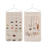 Jewellery Organizer With Pockets And Hooks Cream Discount Code