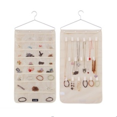 Review Jewellery Organizer With Pockets And Hooks Cream On Singapore