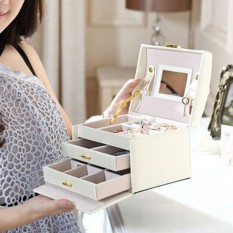 Jewelry Box Organizer Ring Earring Necklace Mirror Display Storage Case Cortical - intl