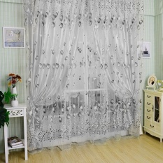 jiaukon Chiffon Tulip Curtain Sheer Drape Panel Scarf Voile Door Window Decor (Black+White) - intl
