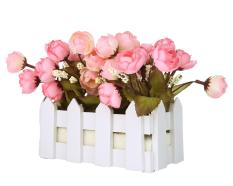 jiechuan Artificial Flowers Small Potted Plant Fake Camellia Sasanqua Set In Picket Fence,pink