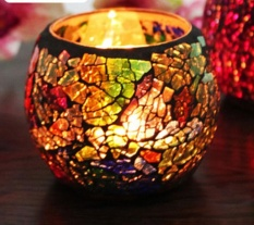 jiechuan Handmade Decorative Glass Tealight Candle Holder Candle Lantern Centerpiece for Party Wedding (Mixed Color) - intl