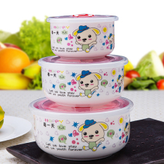 Top Rated Jingdezhen Ceramic Lunch Box Covered Instant Noodles Bowl Three Sets
