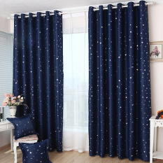 JinGle 1Pcs Blackout Star Pattern Curtain 100*130cm (Navy Blue)