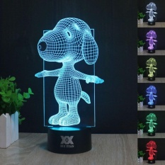 JinGle Peanuts Snoopy 3D LED Night light 7 color Touch Switch Table Desk Lamp Gift - intl Singapore