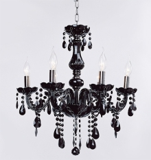 Jo.In All Crystal European Chandeliers 6 Lights Fixture Hallway 110V Black (Black) - Intl