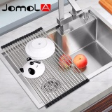 Brand New Jomola Folding Dish Drying Rack 304 Stainless Steel Roll Up Sink Dish Drainer Black 52×33Cm 18 Pieces