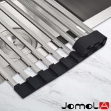 Review Jomola Folding Dish Drying Rack Square Rod 304 Stainless Steel Roll Up Sink Dish Drainer Durable Multipurpose Silicone Black 522×320Mm 14 Pieces Jomola
