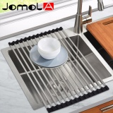Where To Shop For Jomola Roll Up Sink Dish Drainer Square Rod 304 Stainless Steel Sink Dryer Fruit Dish Vegetable Drainer Shelf Holder Rack 522×320Mm