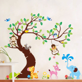 Cheap Jungle Animals Tree Monkey Owl Removable Wall Decal Stickers Nursery Room Decor