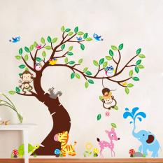 Jungle Animals Tree Monkey Owl Removable Wall Decal Stickers Nursery Room Decor