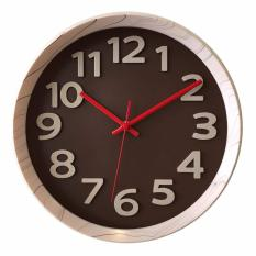 Get The Best Price For Justnile Non Ticking Silent Thick Frame Wall Clock 12 White Grain Dark Brown