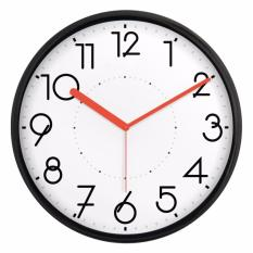 Buy Justnile Silent Non Ticking Modern Wall Clock 13 Inch Black Frame Red Hands Singapore