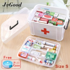 JvGood Household Medical Cabinet Box EMPTY First Aid Kit Plastic Storage Pill Cases With Separate Compartments, Size S (24.5x17.5x13.5 cm) - intl