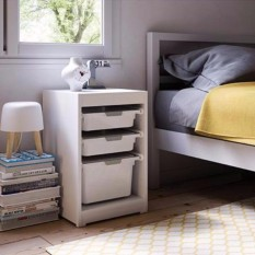 Kiskreo Low Drawer  Set White with Lid