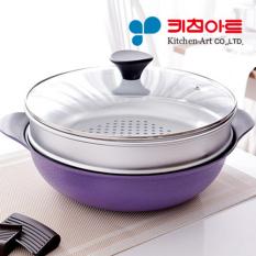 Get Cheap Kitchen Art 28Cm Wok Steamer Lid Set Korea Number One Frying Pan Diamond Exoramic Frypan Diamond Diecasting Steamer