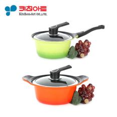 Lowest Price Kitchen Art Pot Set Two Hand Pot 20Cm One Hand Pot 18Cm Metal Casted Ceramic Coating Cooking Pot Frying Pan Korea Number One Pot
