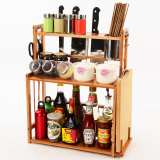 Brand New Kitchen Shelf Bamboo Multi Functional Seasoning Bottle