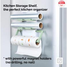 Cheap Kitchen Storage Shelf Dispenser Organiser Aluminium Foil Cling Film Wrap Paper Towel Space Saving Slim Modern Design Strong Mounting Magnet