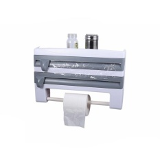 Kitchen Wall Mounted Cling Film Holder Wrap Storage Rack Hanger Rack Cutting Device, Size: 39 X 10 X 24cm(Grey) - intl