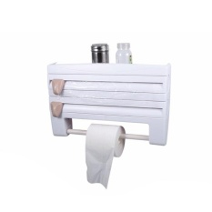 Kitchen Wall Mounted Cling Film Holder Wrap Storage Rack Hanger Rack Cutting Device, Size: 39 X 10 X 24cm(White) - intl