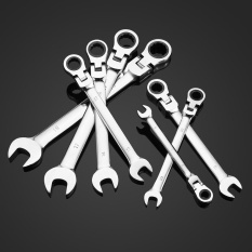 KKmoon 7pcs 8/10/12/13/14/17/19mm Double-ended Combination Ratchet Spanner Open-ended Wrench Set Car Automotive Repair Hardware Tools Flexible Head