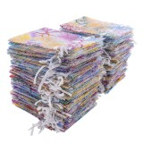 Low Price Kobwa 100Pcs Gifts Bags Drawstring Pouches Jewelry Bags Coralline Pattern Candy Pouch Favor Organza Bags For Party Christmas Wedding Intl