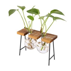 Kobwa Wooden Bracket Glass Vase Tabletop Ornaments Hydroponic Plants Flower Pot Decorative Hanging Glass Vase With Wooden Stand For Garden Living Room Home Decoration - intl
