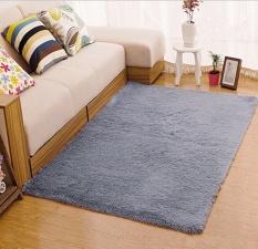 KobwaVelvet Indoor Morden Area Rugs Pads Living Room Bedroom Floor Carpet (Silver And Gray) - intl