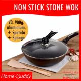 Compare Non Stick Stone Wok ★ Version3 900Gram Aluminium ★ Wok 30Cm Self Stand Glass Lid Wooden Spatula Sponge ■ 2000 Sold ■ Stocks In Singapore ■
