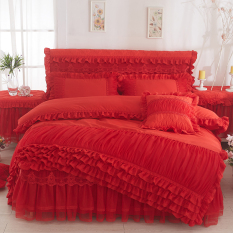Cheap Korean Style Brushed Solid Color Bedspread Lace Bed Skirt Online