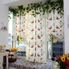 Kuhong Romantic Butterfly Floral Embroidered Door Window Blinds Lifting Tulle Curtain - intl