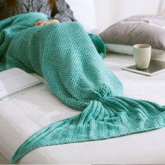 Lowest Price La Vie Knitted Mermaid Tail Blanket Handmade Crochet Soft Sleeping Blankets Mint Green 80 180Cm