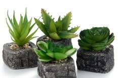 lanyasy Set Of 4 Green Artificial Faux Mini Succulent Plants Pebble Sand Potted Plants Stone Planter Pot - intl