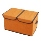 Retail Price Large Cotton Linen Fabric Foldable Double Lid Portable Closets Organizer Book Storage Box Sundries Case Cover Intl