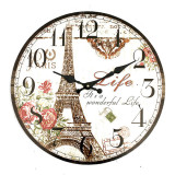 Large Vintage Rustic Wall Clock Shabby Chic Kitchen Home French Eiffel Tower New Best Buy