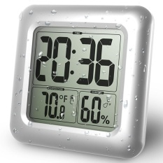 LCD Bath & Shower Clock, Waterproof Bathroom Clock, Wall Mounted, Suction Cups, Digital Displays Time, Temperature, and Indoor Relative Humidity - intl