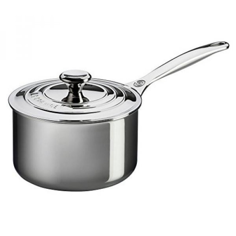 Le Creuset Tri-Ply Stainless Steel Saucepan with Lid, 3-Quart - intl Singapore