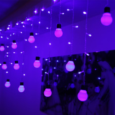 Brand New Led Bulb Strip Icicle String Fairy Lights Wedding Xmas Party Deco Purple Intl