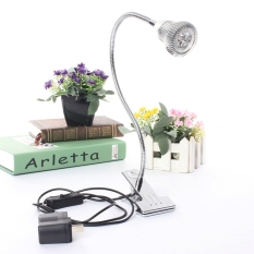 LED Desk Lamp Table Bedside Study Reading Light Clip ON/OFF Clamp (Silver Warm White) - Intl