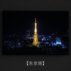 LED Night Painting Background Wall Restaurant Decorative Painter Living Simple Mural with Nigh Ligh(Tokyo Tower) - intl