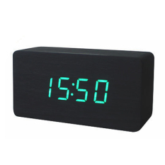 Led Office Desk Wooden Digital Alarm Clock Black Bottom Green Word Export Best Price