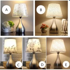 Led Simple Modern Bedroom Bedside Lamp Table Lamp Warm Light with Dimming Function Aluminum Body Fabric Shade with Bulb Creative Lamp 15*43cm (Energy Class A++) - intl