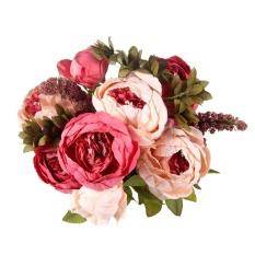 leegoal 13 Pcs HIGHT Quality Silk Flower European 1 Bouquet Artificial Flowers Fall Vivid Peony Fake