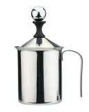 New Leegoal 400Ml Stainless Steel Milk Frother Hand Pump Double Mesh Milk Creamer