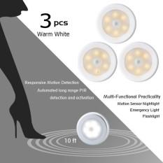 leegoal Battery Powered Operated LED PIR Maotion Sensor Night Light, Secure For Kids 3 Pcs