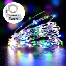 leegoal 10M 100 LED Fairy Lights USB Plug In With Remote Control Dimmable, Warm White Starry String Lights For Bedroom Indoor Outdoor Decorative(Sliver RGB Colorful Light) - intl